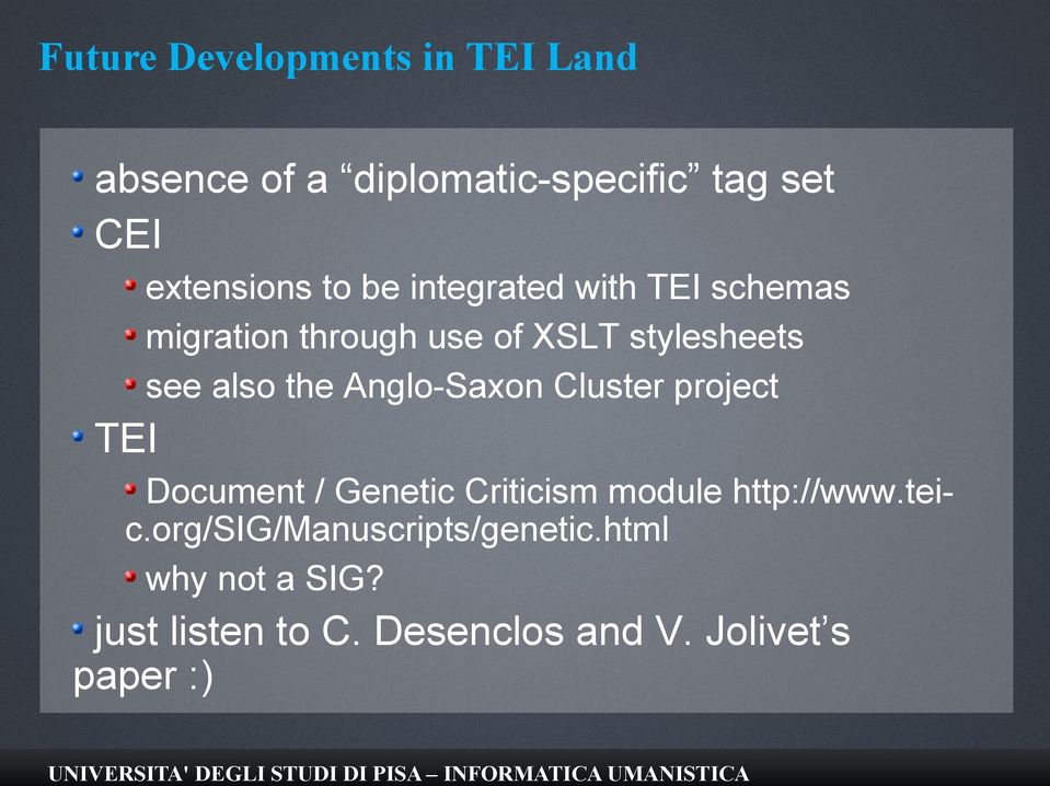 Anglo-Saxon Cluster project TEI Document / Genetic Criticism module http://www.teic.