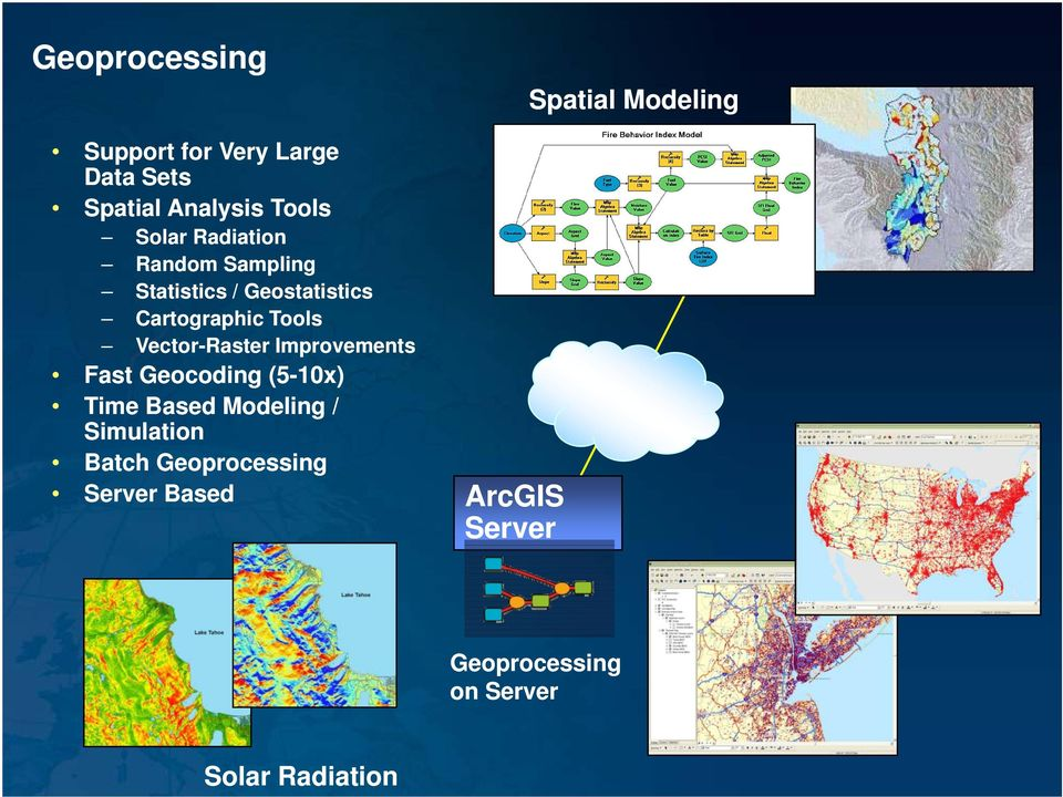 Vector-Raster Improvements Fast Geocoding (5-10x) Time Based Modeling / Simulation