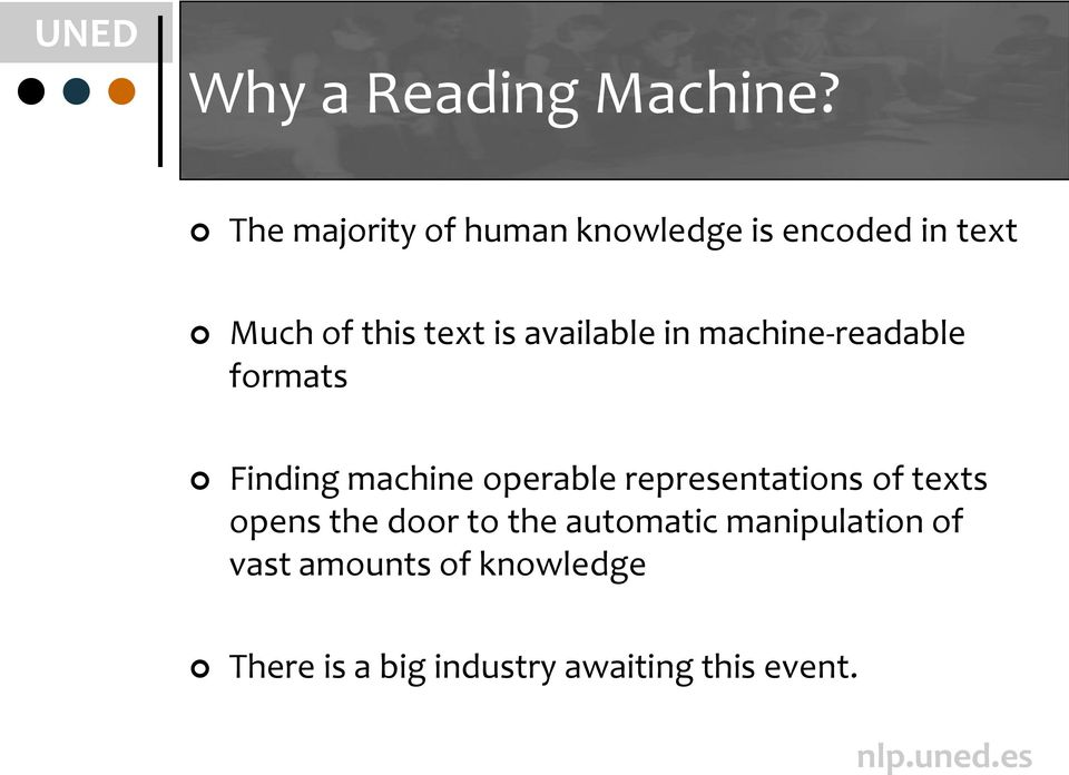 available in machine-readable formats Finding machine operable