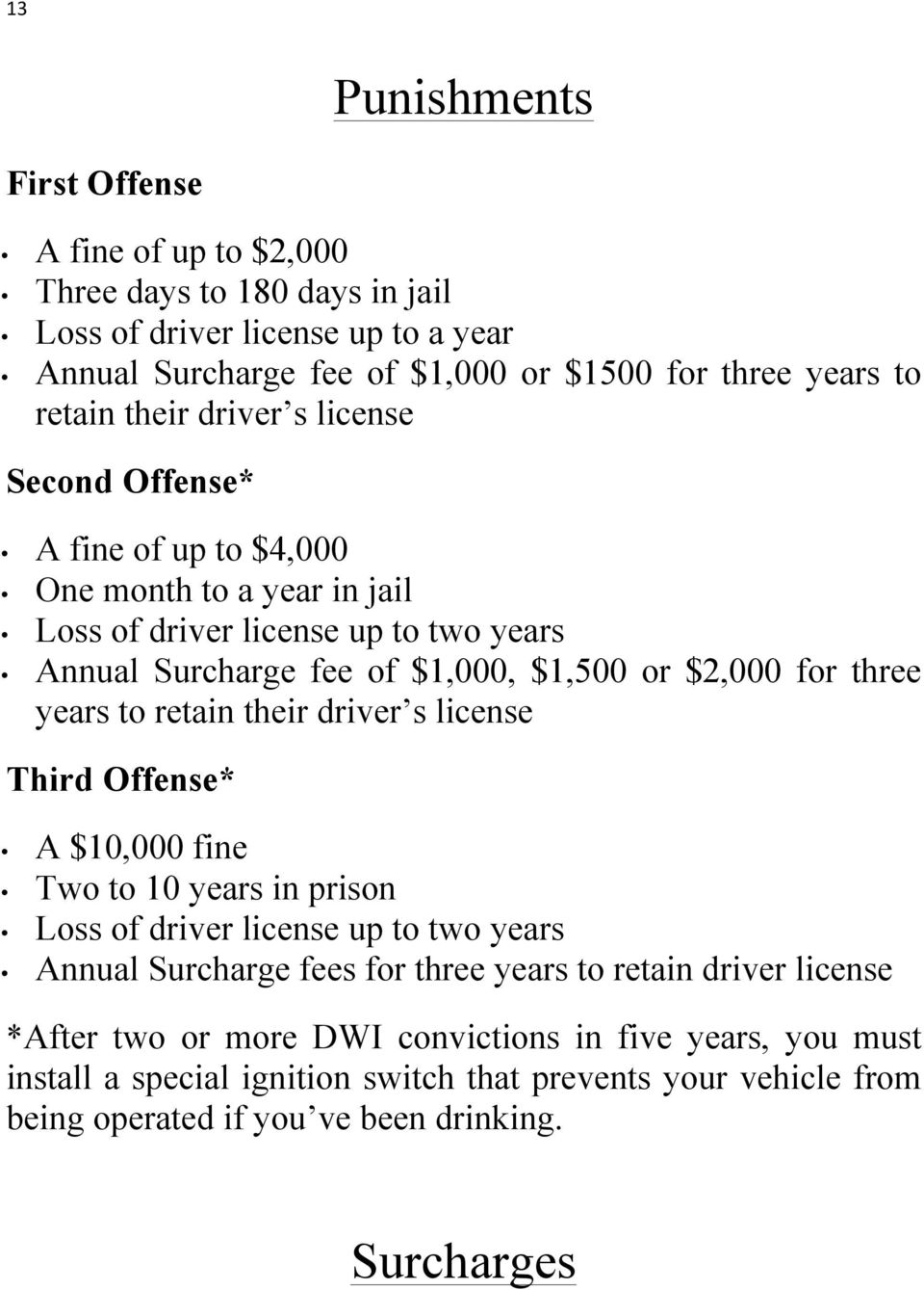 three years to retain their driver s license Third Offense* A $10,000 fine Two to 10 years in prison Loss of driver license up to two years Annual Surcharge fees for three years to