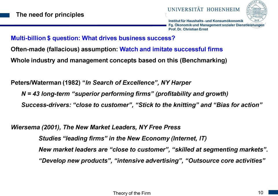 Search of Excellence, NY Harper N = 43 long-term superior performing firms (profitability and growth) Success-drivers: close to customer, Stick to the knitting and Bias