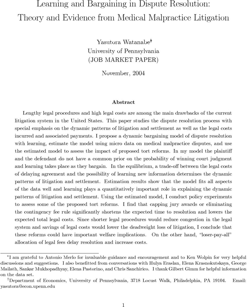 This paper studies the dispute resolution process with special emphasis on the dynamic patterns of litigation and settlement as well as the legal costs incurred and associated payments.