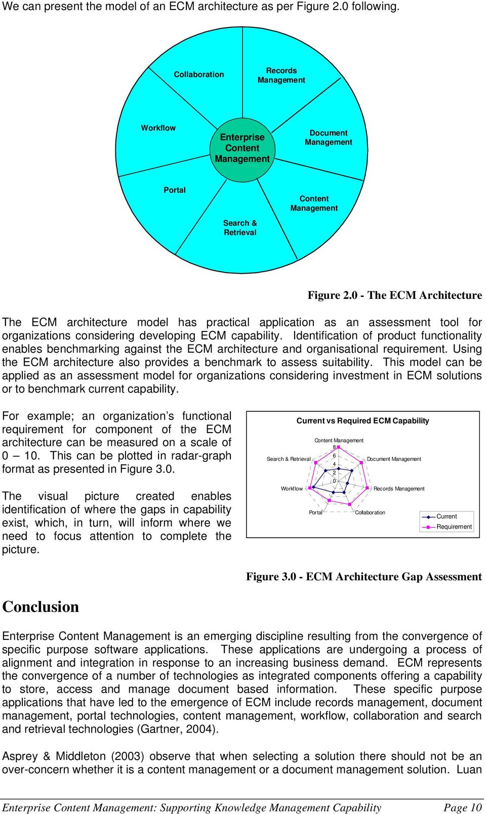 0 - The ECM Architecture The ECM architecture model has practical application as an assessment tool for organizations considering developing ECM capability.