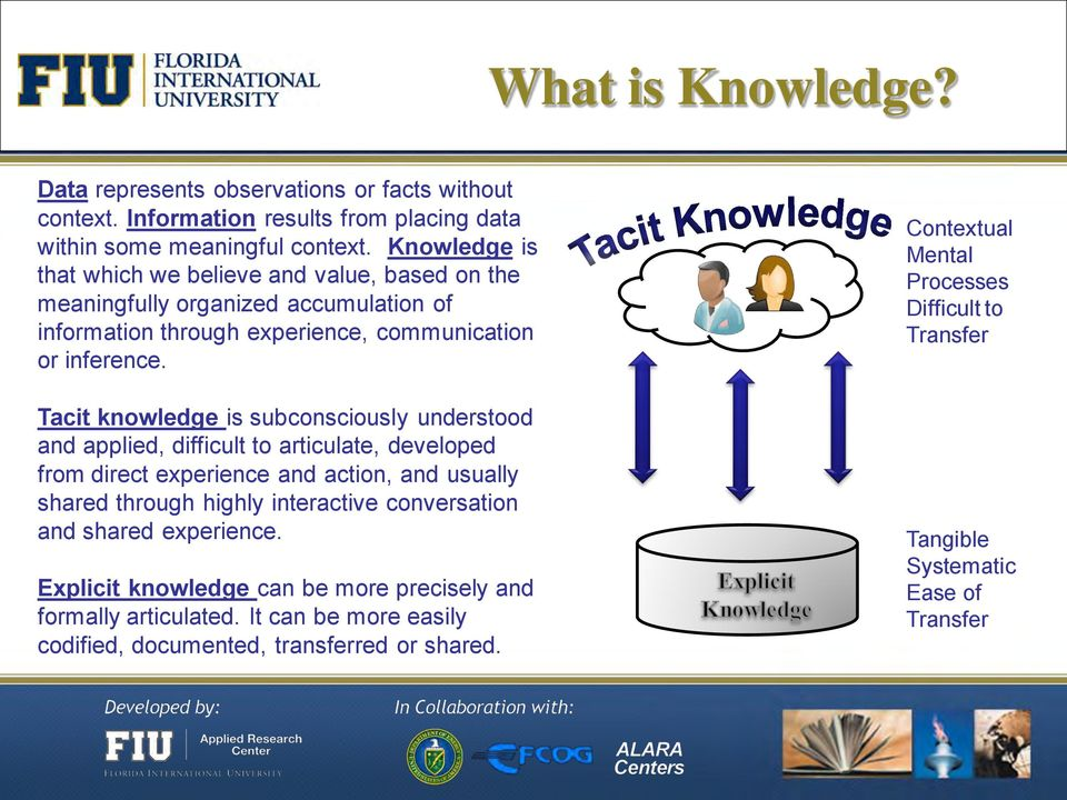 Tacit knowledge is subconsciously understood and applied, difficult to articulate, developed from direct experience and action, and usually shared through highly interactive