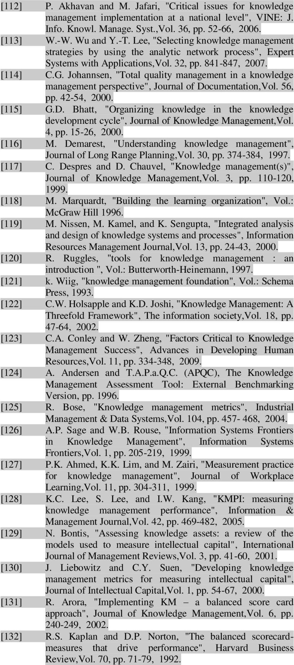 "Johannsen, ""Total quality management in a knowledge management perspective"", Journal of Documentation,Vol. 56, pp. 42-54, 2000. [115] G.D. Bhatt, ""Organizing knowledge in the knowledge development cycle"", Journal of Knowledge Management,Vol."