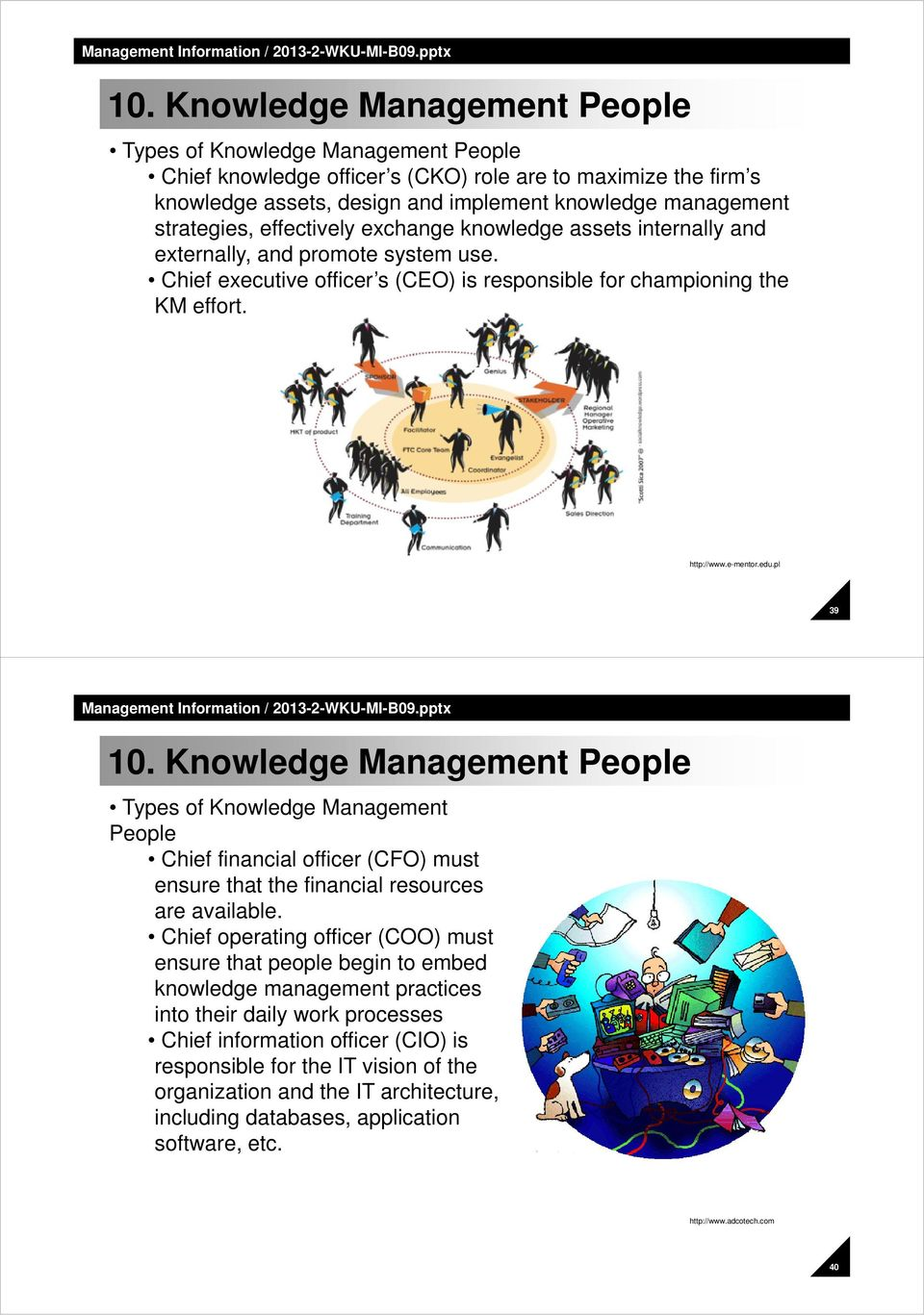 edu.pl 39 10. Knowledge Management People Types of Knowledge Management People Chief financial officer (CFO) must ensure that the financial resources are available.