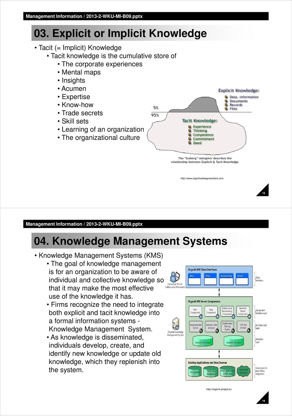Knowledge Management Systems Knowledge Management Systems (KMS) The goal of knowledge management is for an organization to be aware of individual and collective knowledge so that it may make the most