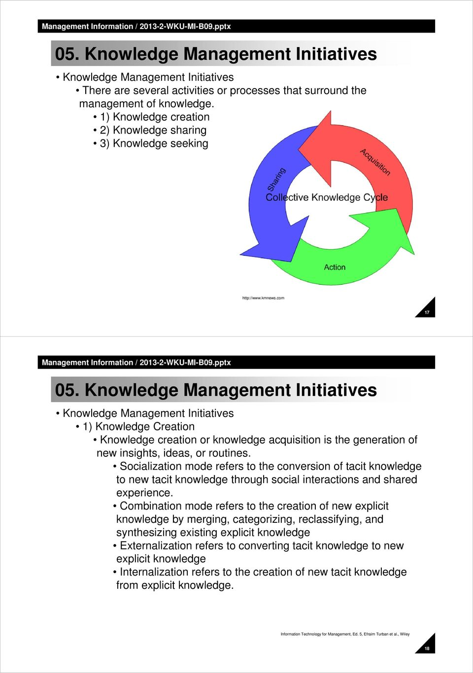 Knowledge Management Initiatives Knowledge Management Initiatives 1) Knowledge Creation Knowledge creation or knowledge acquisition is the generation of new insights, ideas, or routines.