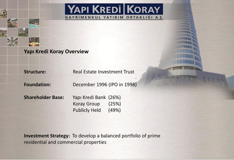 Bank (26%) Koray Group (25%) Publicly Held (49%) Investment Strategy: