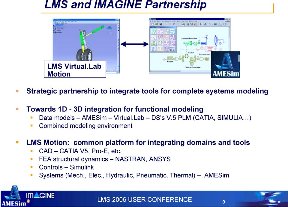 Combined modeling environment! LMS Motion: common platform for integrating domains and tools! CAD CATIA V5, Pro-E, etc.