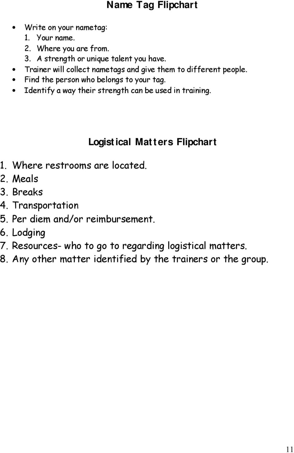 Identify a way their strength can be used in training. Logistical Matters Flipchart 1. Where restrooms are located. 2. Meals 3.