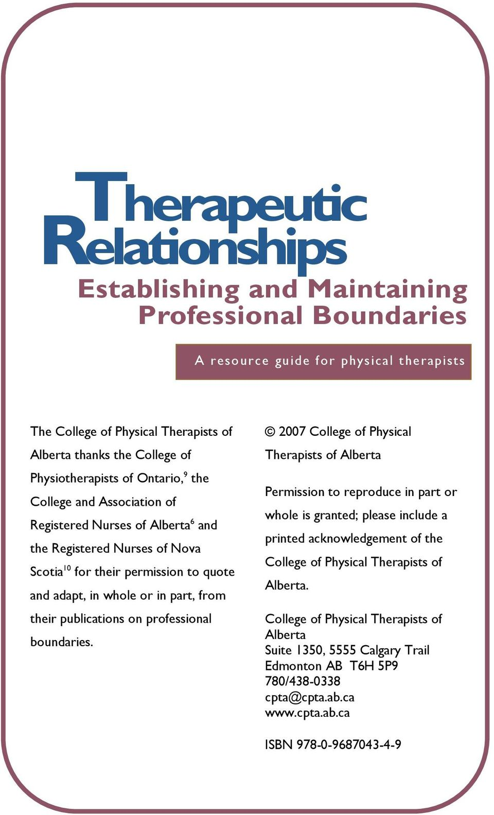 part, from their publications on professional boundaries.
