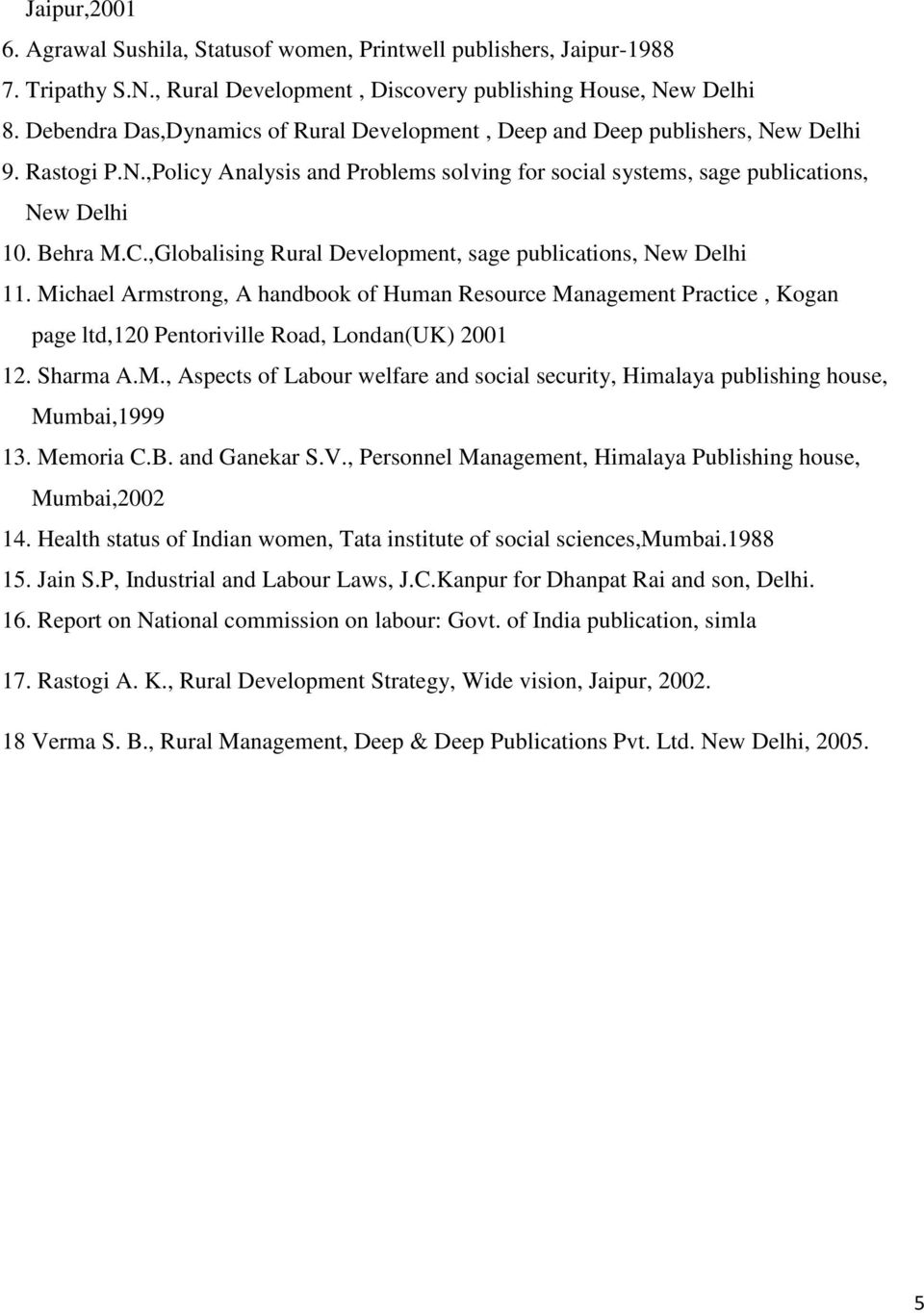 ,Globalising Rural Development, sage publications, New Delhi 11. Michael Armstrong, A handbook of Human Resource Management Practice, Kogan page ltd,120 Pentoriville Road, Londan(UK) 2001 12.