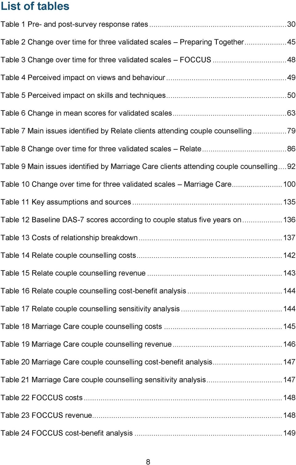 .. 63 Table 7 Main issues identified by Relate clients attending couple counselling... 79 Table 8 Change over time for three validated scales Relate.