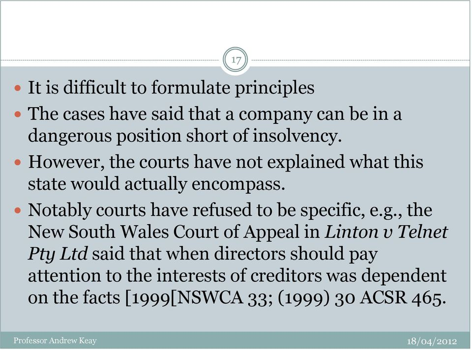 Notably courts have refused to be specific, e.g.