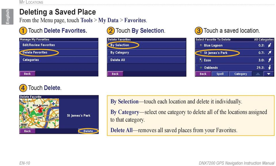 By Selection touch each location and delete it individually.