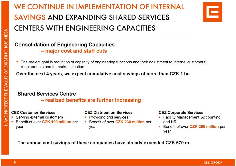 years, we expect cumulative cost savings of more than CZK 1 bn.