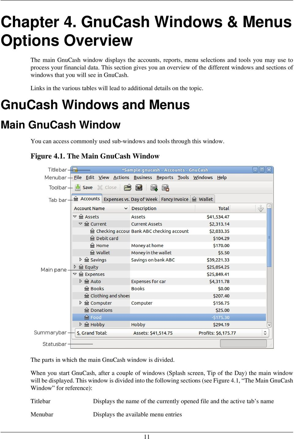 GnuCash Windows and Menus Main GnuCash Window You can access commonly used sub-windows and tools through this window. Figure 4.1.