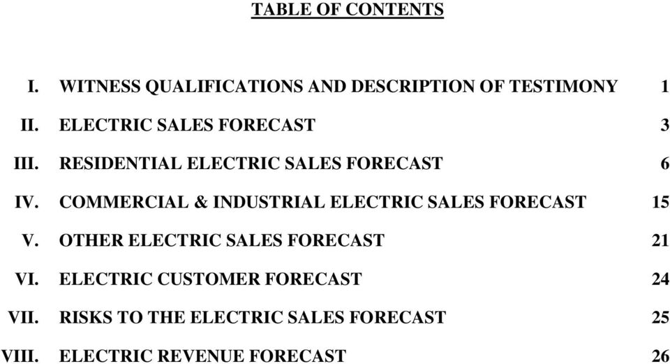 COMMERCIAL & INDUSTRIAL ELECTRIC SALES FORECAST V.
