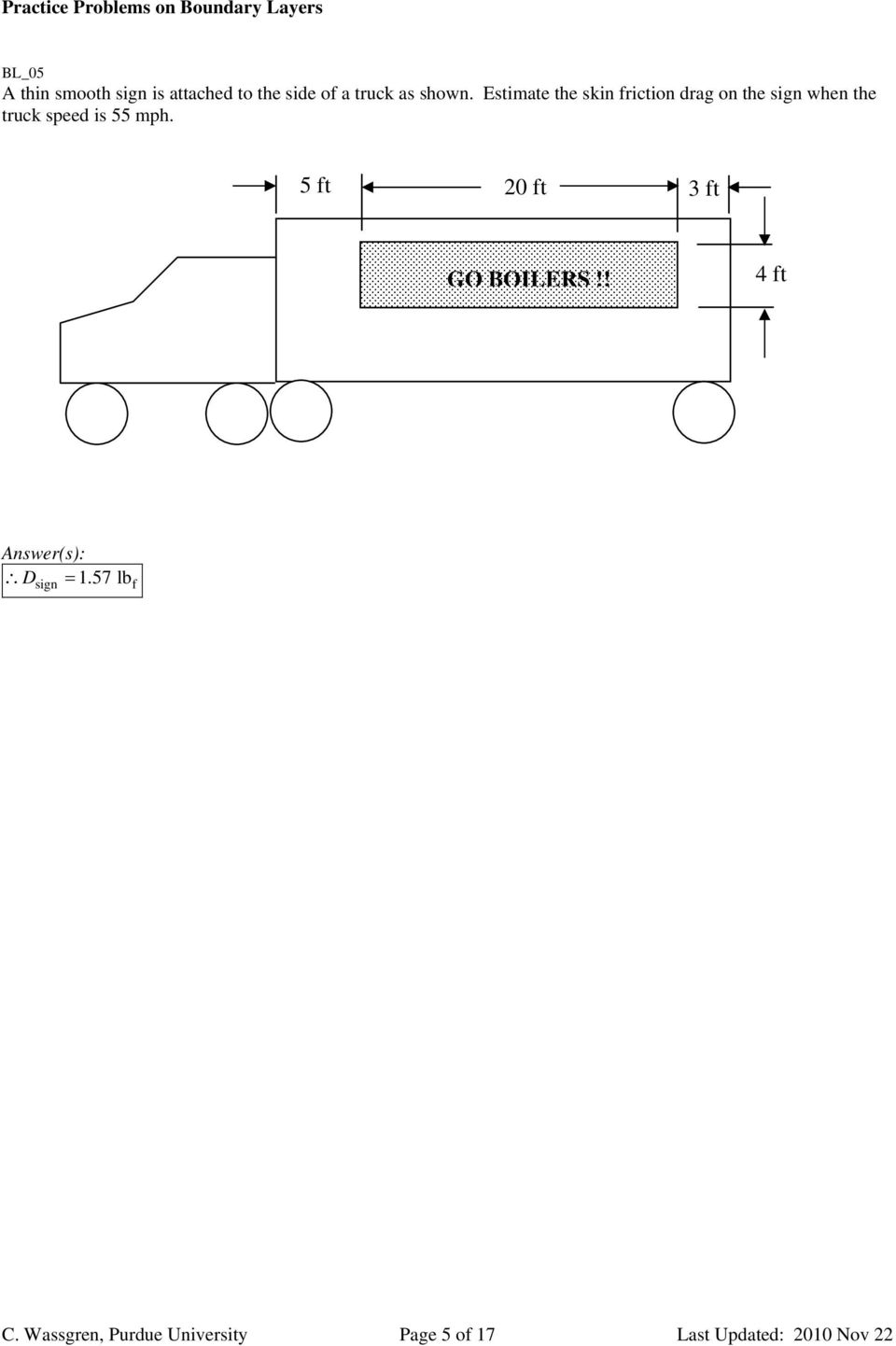 Estimate the skin friction drag on the sign when the truck speed