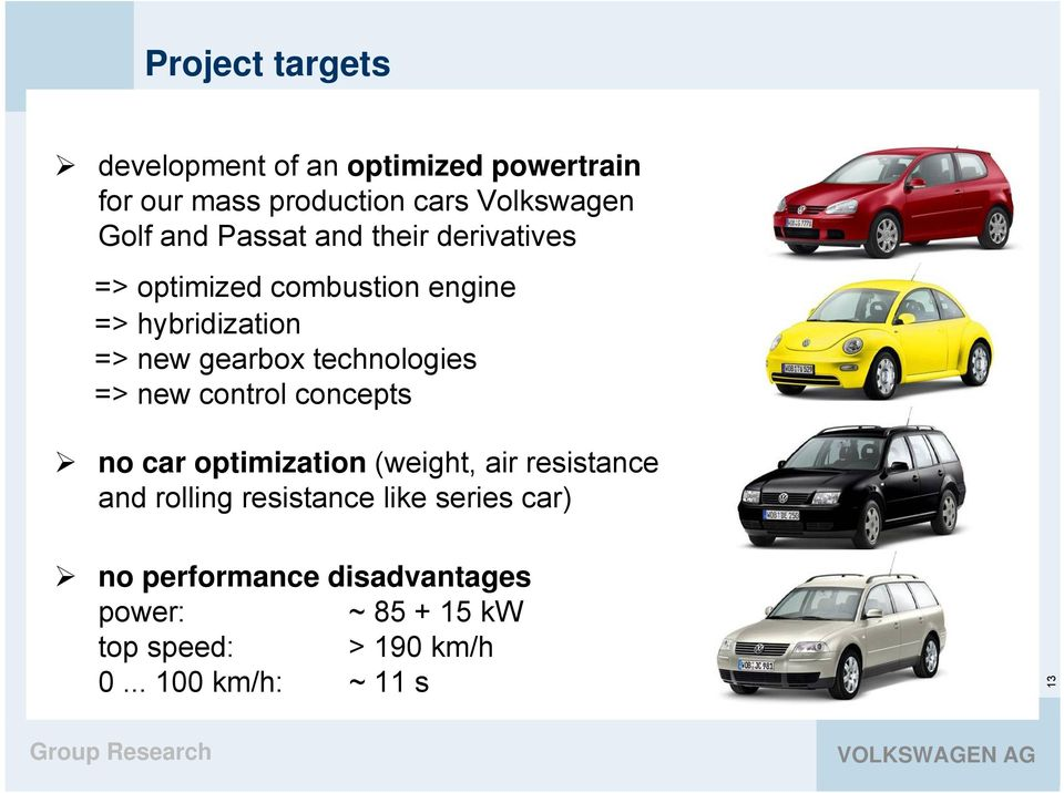 technologies => new control concepts no car optimization (weight, air resistance and rolling