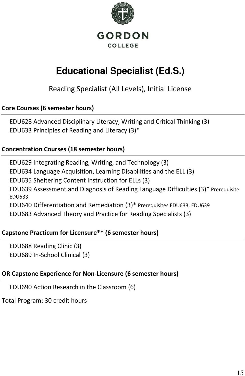 ) Reading Specialist (All Levels), Initial License EDU628 Advanced Disciplinary Literacy, Writing and Critical Thinking (3) EDU633 Principles of Reading and Literacy (3)* Concentration Courses (8