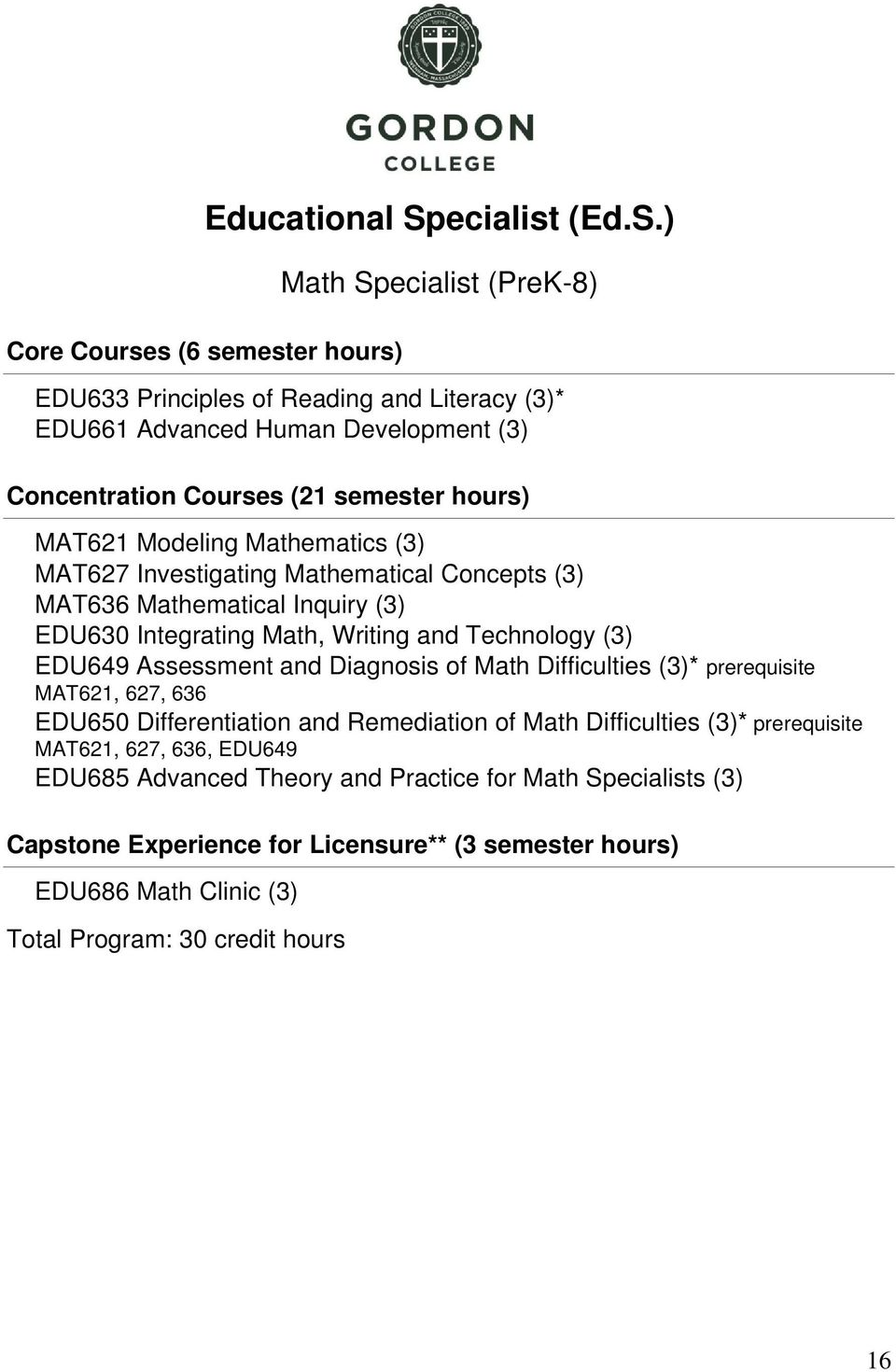 ) Core Courses (6 semester hours) Math Specialist (PreK-8) EDU633 Principles of Reading and Literacy (3)* EDU66 Advanced Human Development (3) Concentration Courses (2 semester hours)