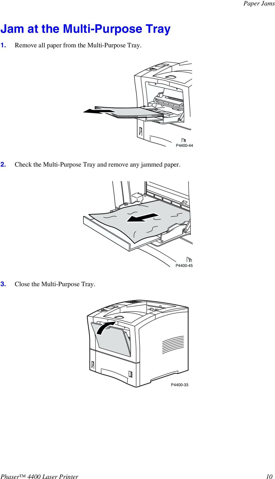 Check the Multi-Purpose Tray and remove any jammed paper.