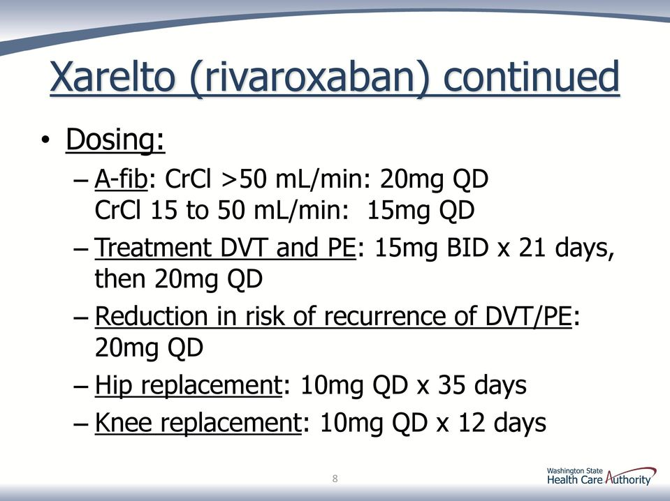 days, then 20mg QD Reduction in risk of recurrence of DVT/PE: 20mg QD