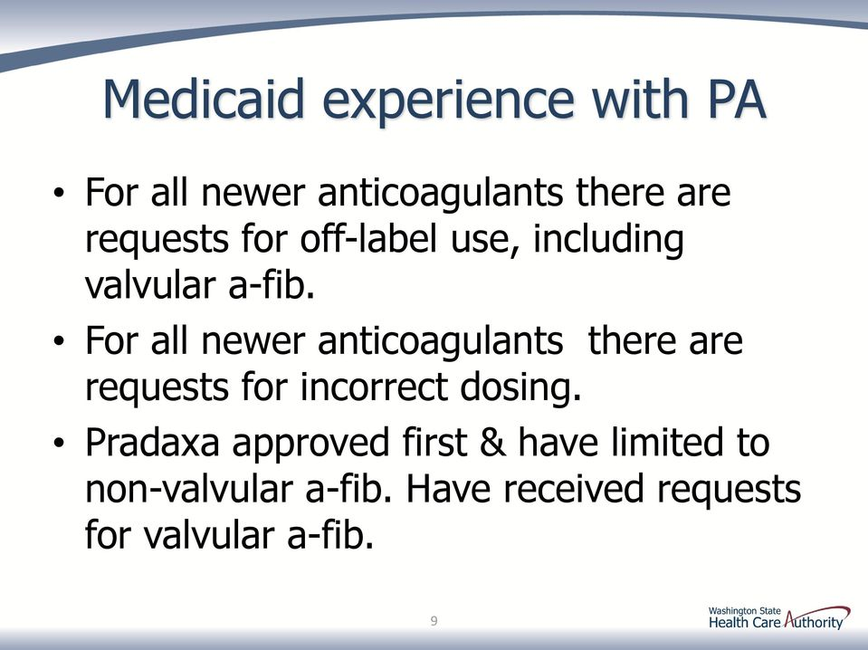 For all newer anticoagulants there are requests for incorrect dosing.