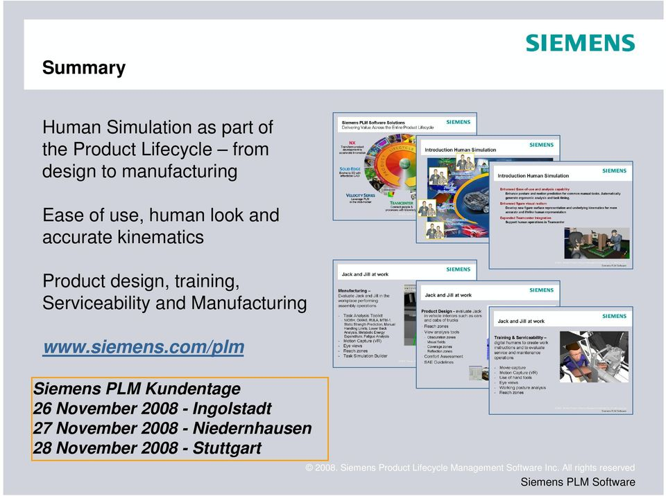 training, Serviceability and Manufacturing www.siemens.