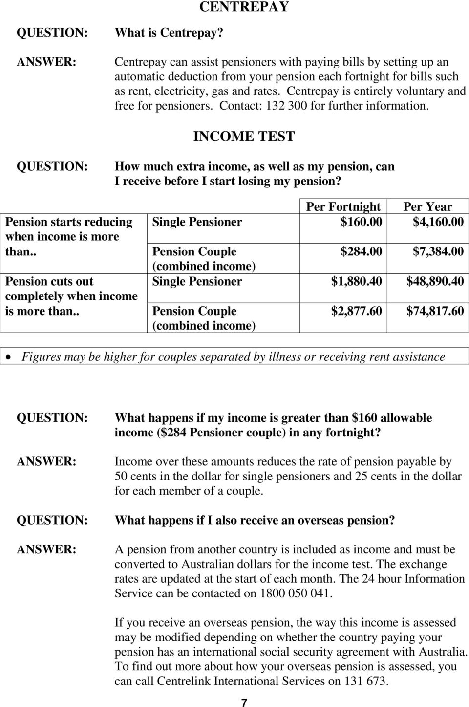 INCOME TEST How much extra income, as well as my pension, can I receive before I start losing my pension? Pension starts reducing when income is more than.