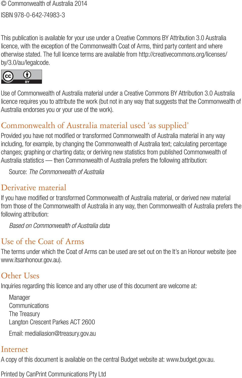 org/licenses/ by/3.0/au/legalcode. Use of Commonwealth of Australia material under a Creative Commons BY Attribution 3.
