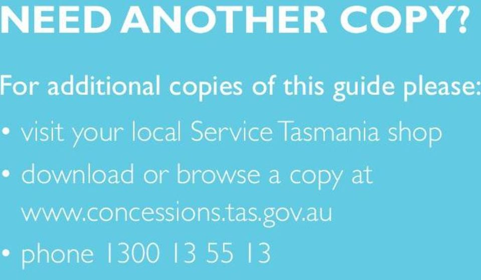 local Service Tasmania shop download or browse a copy