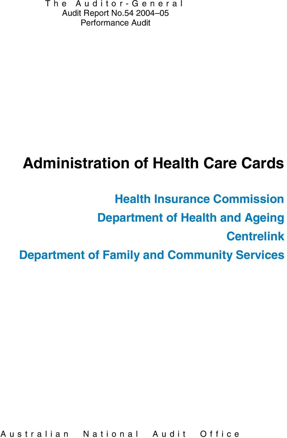Commission Department of Health and Ageing