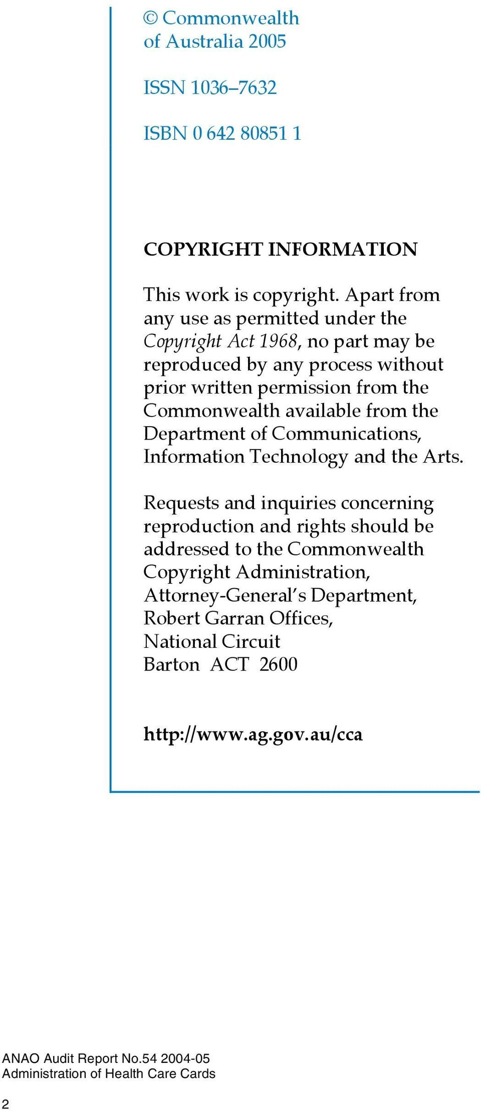 Commonwealth available from the Department of Communications, Information Technology and the Arts.