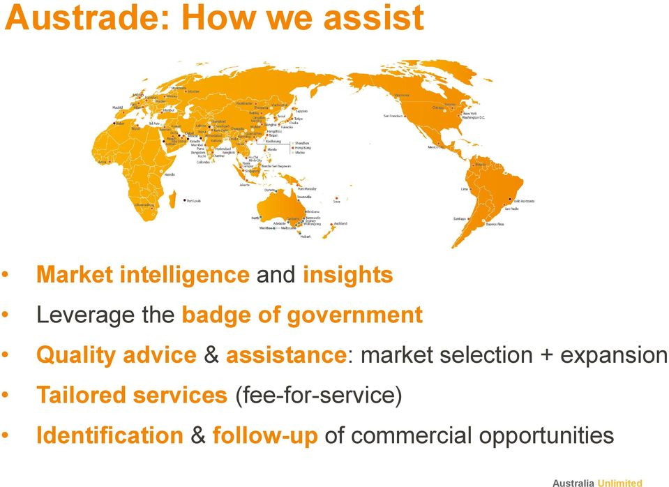 assistance: market selection + expansion Tailored services
