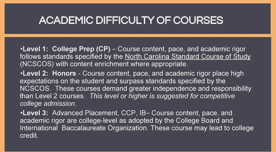 Level 2: Honors - Course content, pace, and academic rigor place high expectations on the student and surpass standards specified by the NCSCOS.