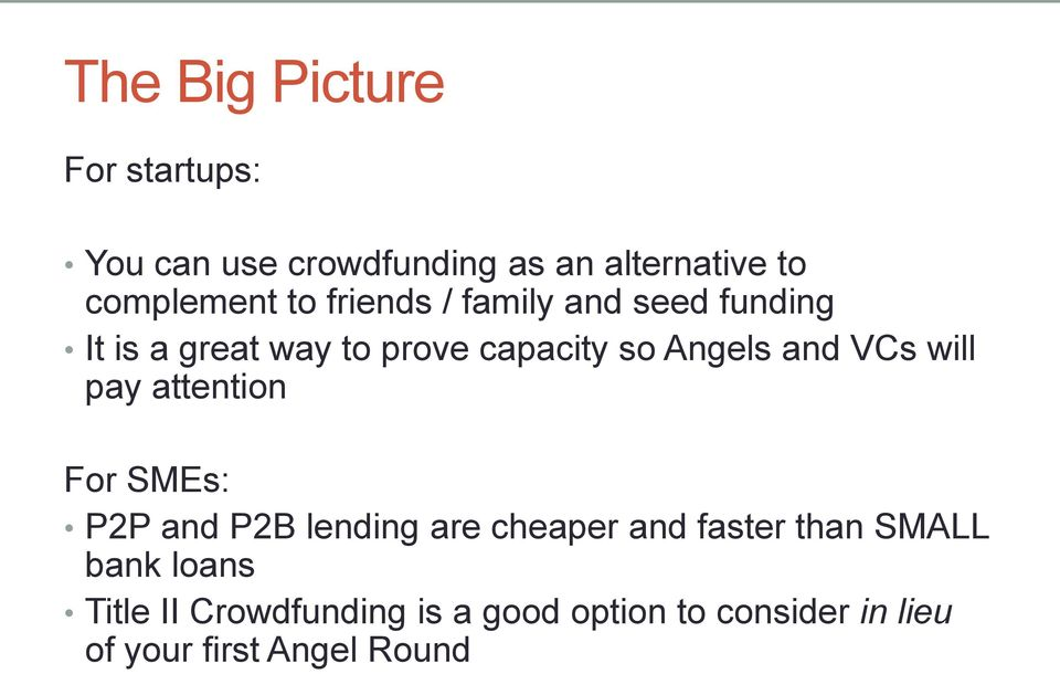 VCs will pay attention For SMEs: P2P and P2B lending are cheaper and faster than SMALL