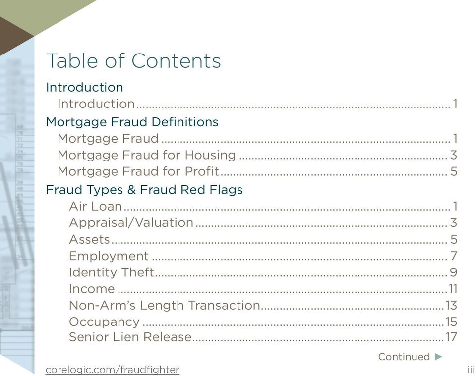 .. 5 Fraud Types & Fraud Red Flags Air Loan... 1 Appraisal/Valuation... 3 Assets.