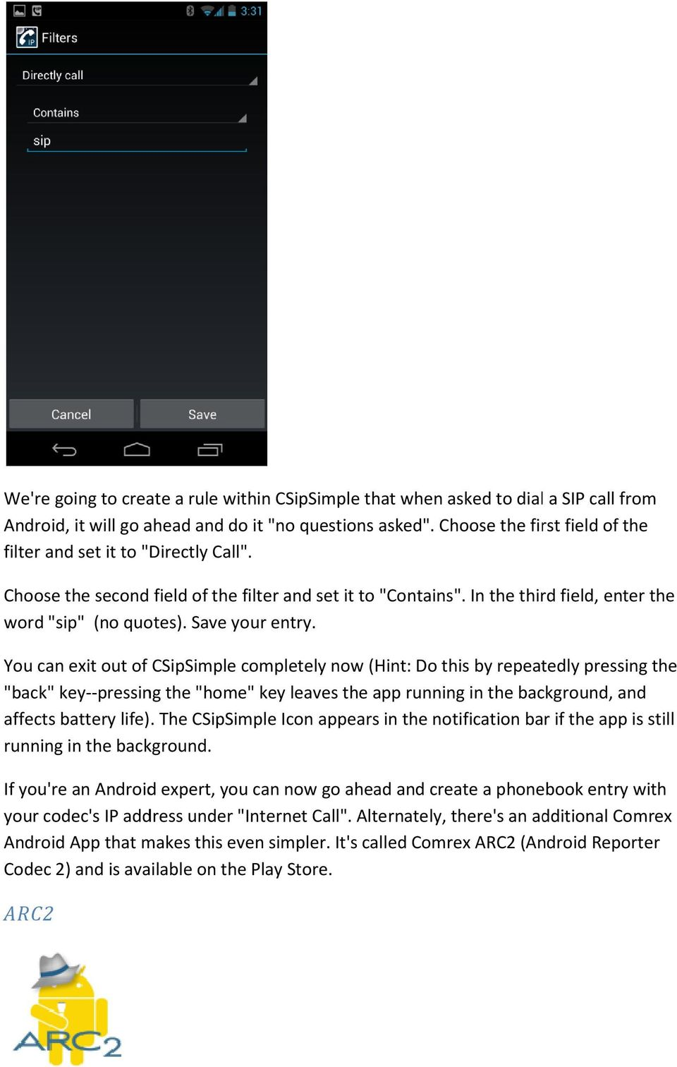 Integrating the Android CSipSimple app for use with Comrex