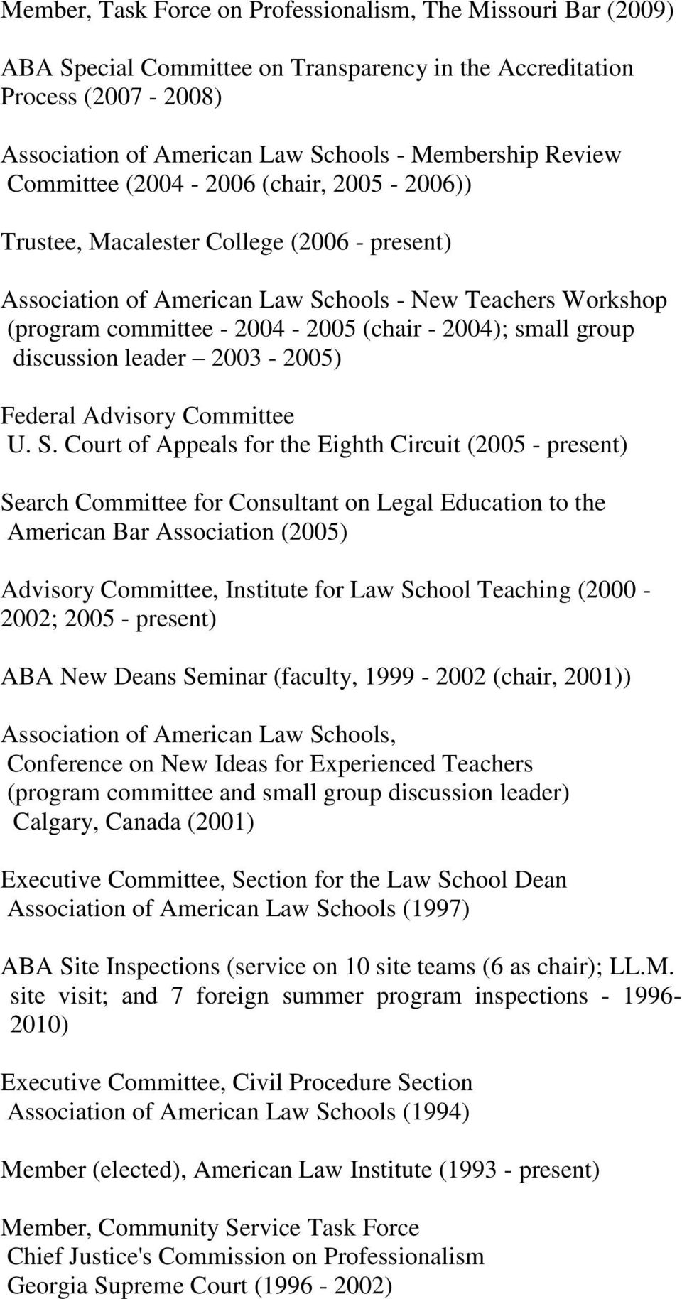 group discussion leader 2003-2005) Federal Advisory Committee U. S.