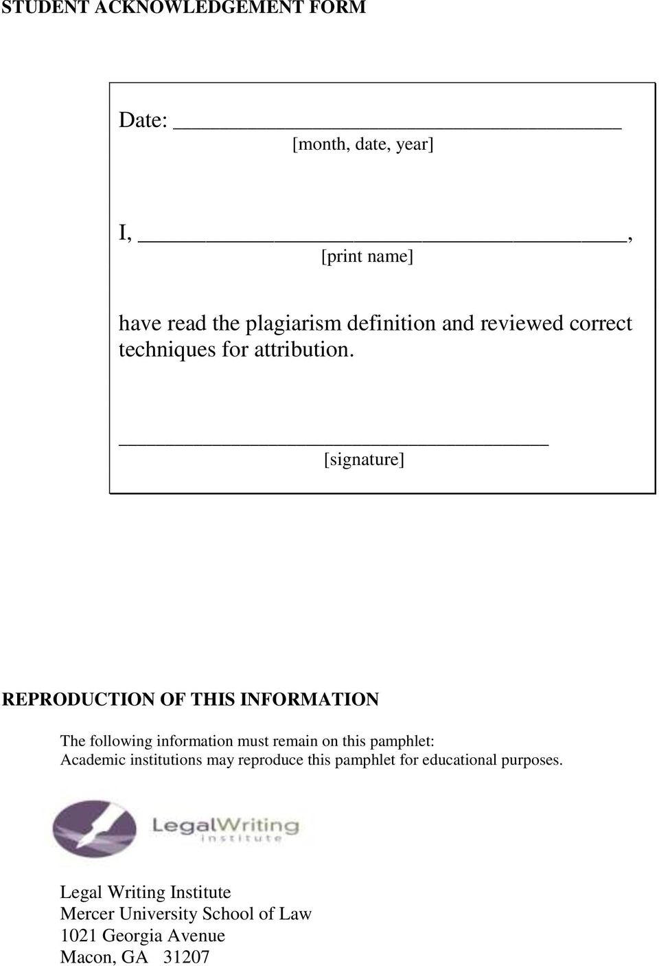 [signature] REPRODUCTION OF THIS INFORMATION The following information must remain on this pamphlet: