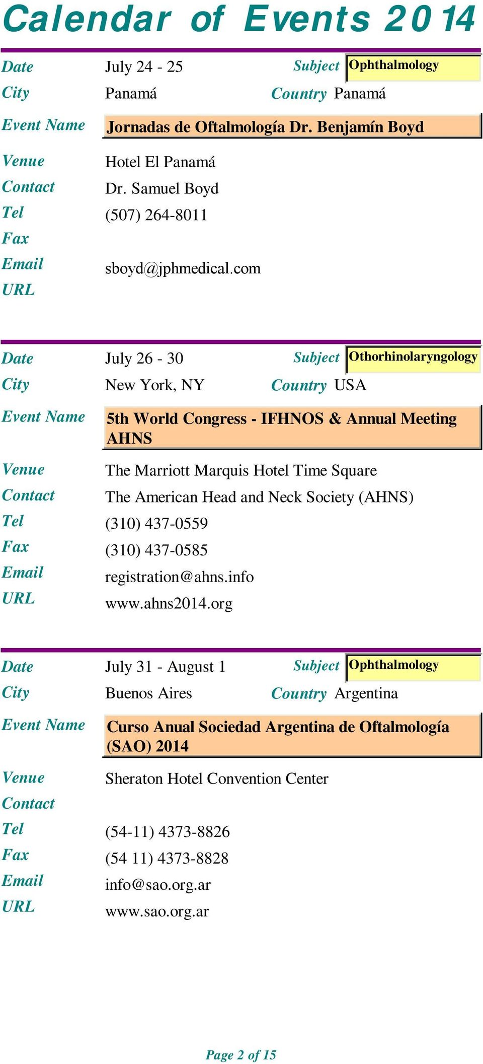 American Head and Neck Society (AHNS) registration@ahns.info www.ahns2014.