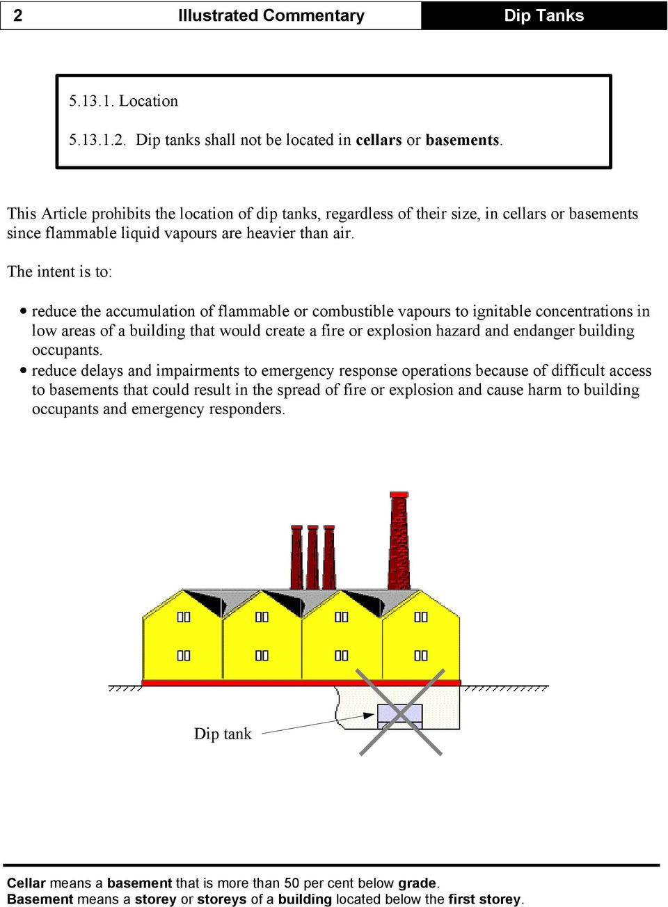 The intent is to: reduce the accumulation of flammable or combustible vapours to ignitable concentrations in low areas of a building that would create a fire or explosion hazard and endanger building