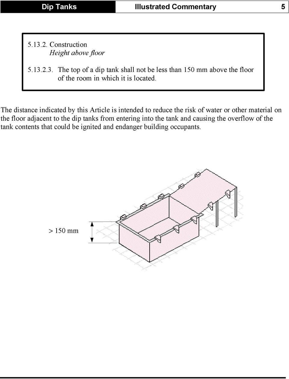 2.3. The top of a dip tank shall not be less than 150 mm above the floor of the room in which it is located.