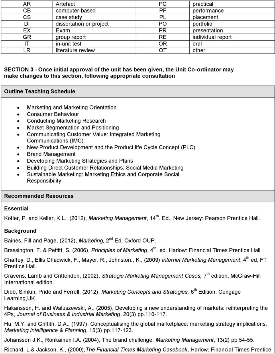 Outline Teaching Schedule Marketing and Marketing Orientation Consumer Behaviour Conducting Marketing Research Market Segmentation and Positioning Communicating Customer Value: Integrated Marketing