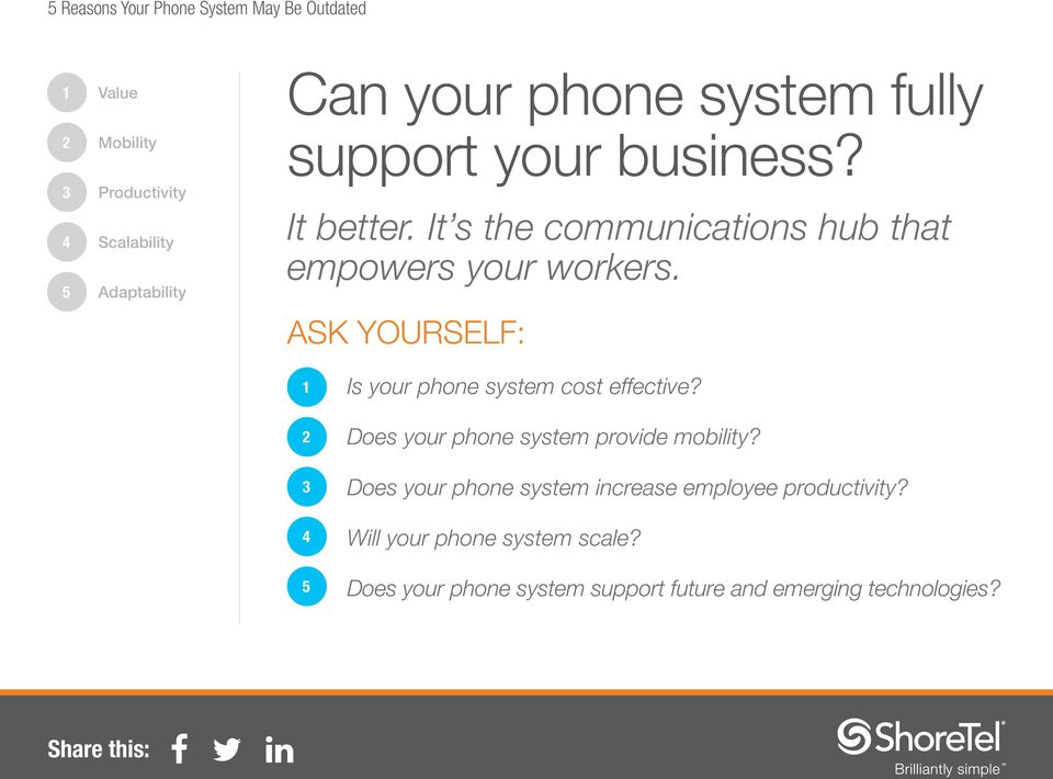 ASK YOURSELF: Is your phone system cost effective? Does your phone system provide mobility?