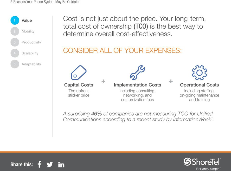 CONSIDER ALL OF YOUR EXPENSES: Capital Costs The upfront sticker price + + Implementation Costs Including consulting, networking,