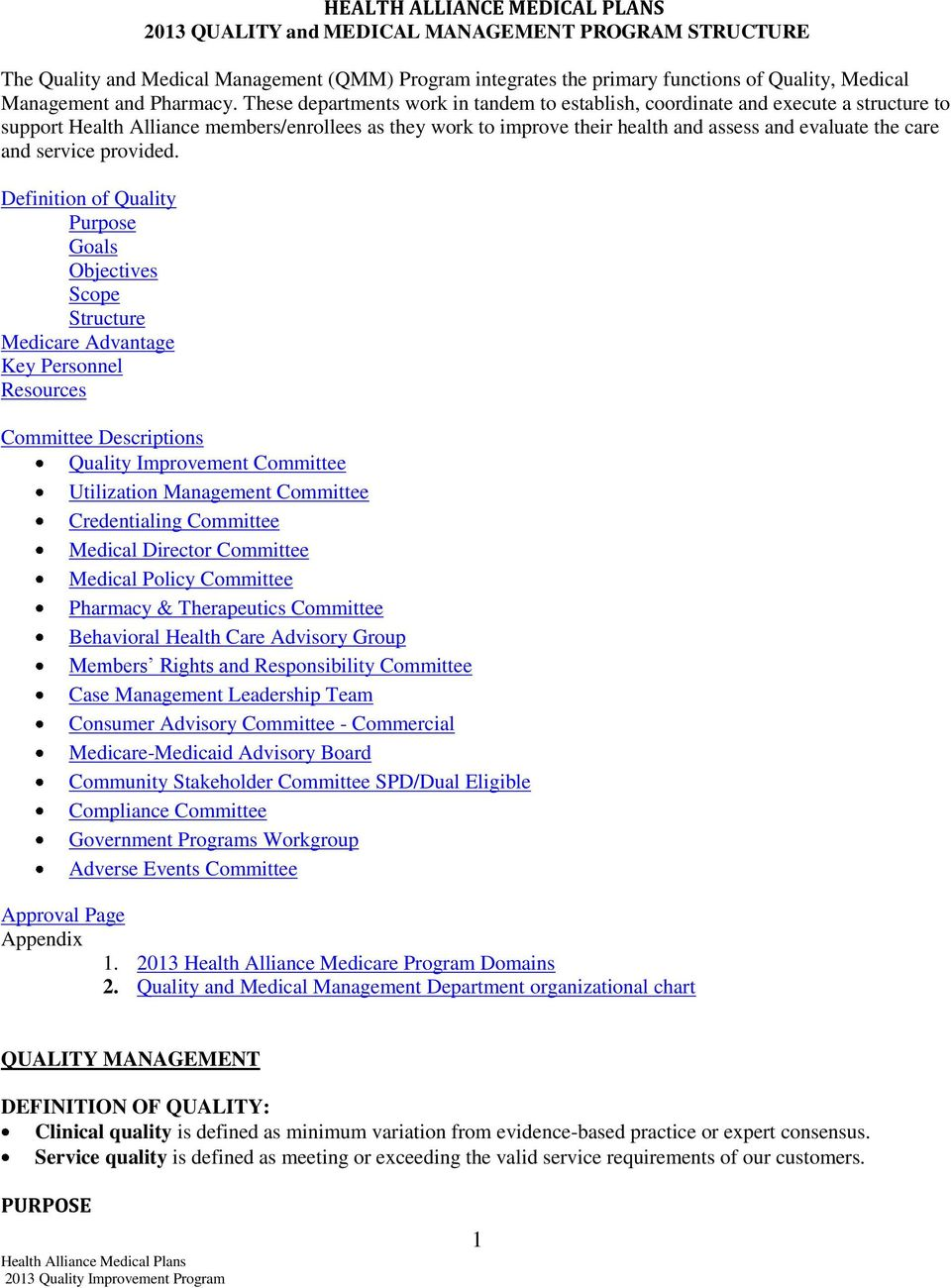 Health Alliance Medical Plans 2013 Quality And Medical Management
